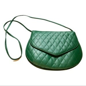 Vintage | Quilted Emerald Green Crossbody Bag